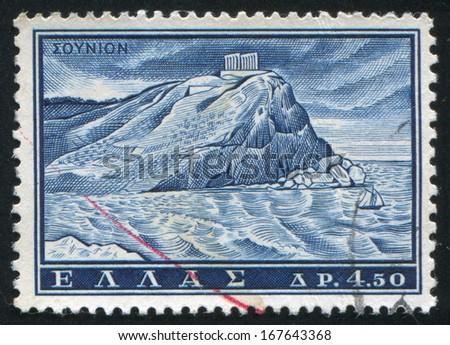 GREECE - CIRCA 1961: stamp printed by Greece, shows Temple of Poceidon, Sounion, circa 1961 - stock photo