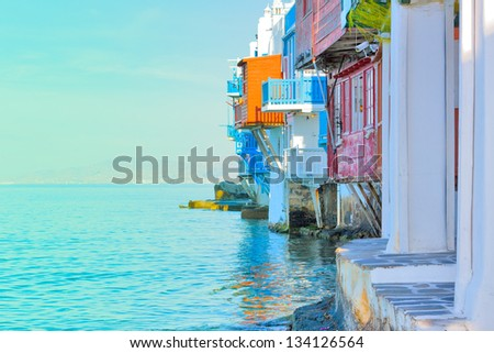 Greece, closeup on little Venice Mykonos capitol - stock photo