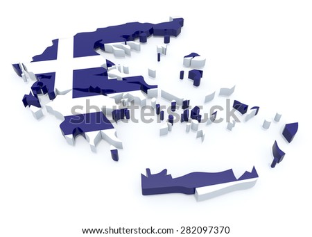 Greece country map on a white background, 3d illustration - stock photo