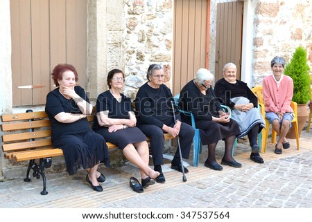 GREECE - CRETE - MALIA - CIRCA MAY 2011: Senior women during siesta.
