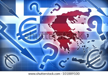 Greece crisis blue red background - stock photo