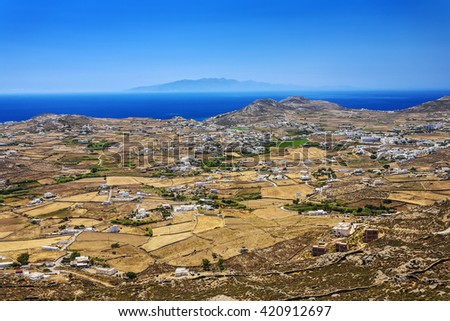 Greece. Cyclades Islands - Mykonos. Interior of island with mosaic fields and typical Cycladic architecture