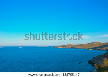 Greece Cyclades Islands, Panoramic sea view from Syros at a hot summer day