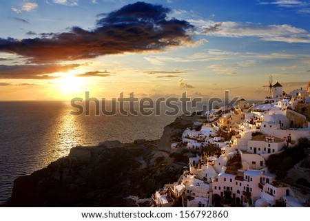 Greece. Cyclades Islands - Santorini (Thira). Oia town before sunset - stock photo