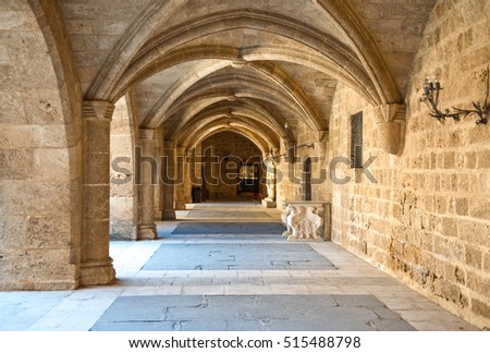 Greece, Dodecanese, Rhodes, the medieval Grand Master palace courtyard