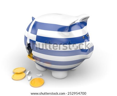 Greece economy and finance concept for unemployment, poverty, and national debt crisis - stock photo