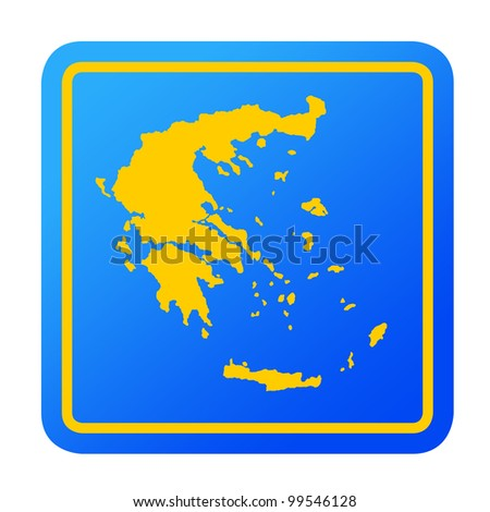 Greece European button isolated on a white background with clipping path.