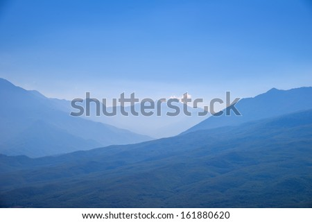 Greece famous pindos panoramic view of mountains that hosted fights of the world war - stock photo