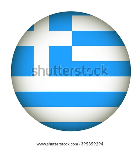 Greece Flag Glossy Button. - stock photo