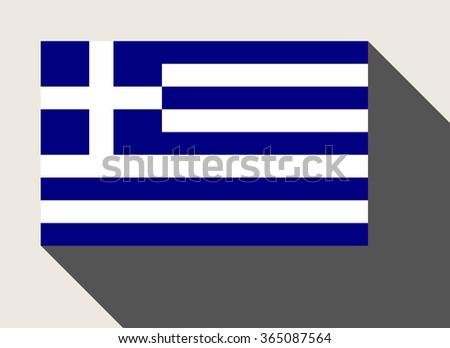 Greece flag in flat web design style. - stock photo
