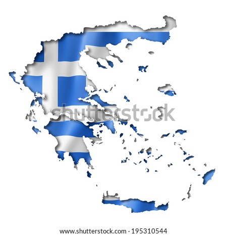 Greece flag map, three dimensional render, isolated on white - stock photo