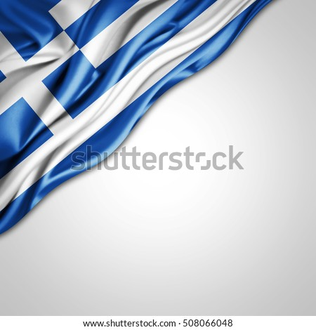 Greece flag of silk with copyspace for your text or images and white background-3D illustration