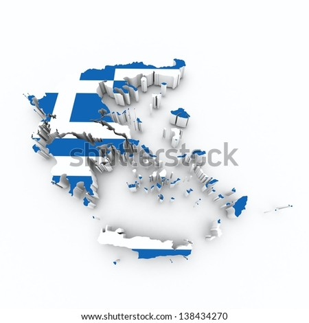 greece flag on 3d map - stock photo