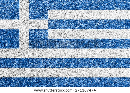 Greece flag on grass background texture - stock photo