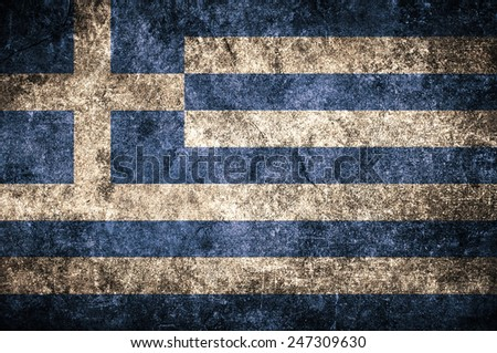 Greece flag on the grunge concrete wall - stock photo