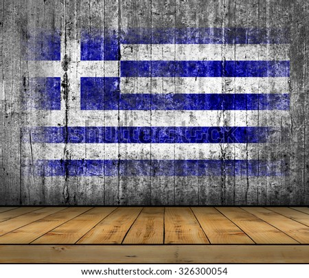Greece flag painted on background texture gray concrete with wooden floor - stock photo