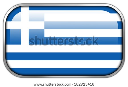 Greece Flag rectangle glossy button - stock photo