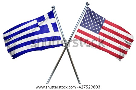 Greece flag with american flag, isolated on white background
