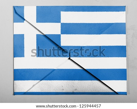 Greece. Greek flag  painted on grey envelope