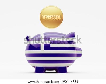 Greece High Resolution Depression Concept - stock photo