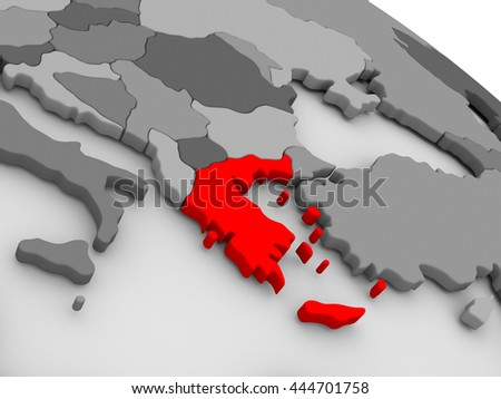 Greece highlighted in red on model of globe. 3D illustration