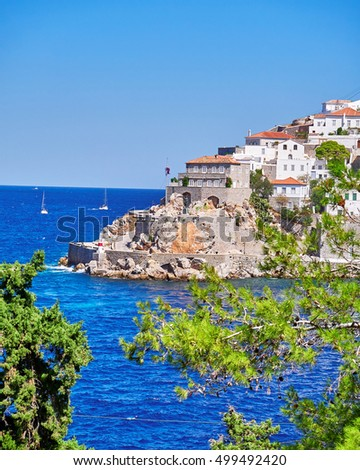 "Greece, Hydra island town and  cape ""Kavos"" scenic view"