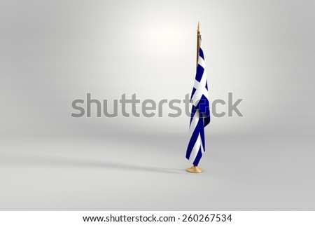 Greece isolated flag on a brown and golden wooden mast 3d illustration - stock photo