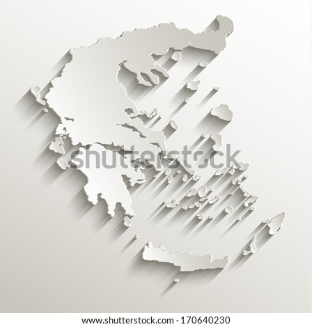 Greece map card paper 3D natural raster blank - stock photo