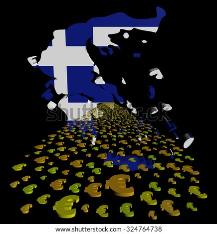Greece map flag with euros foreground illustration - stock photo