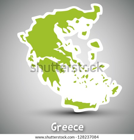 Greece map sticker - stock photo