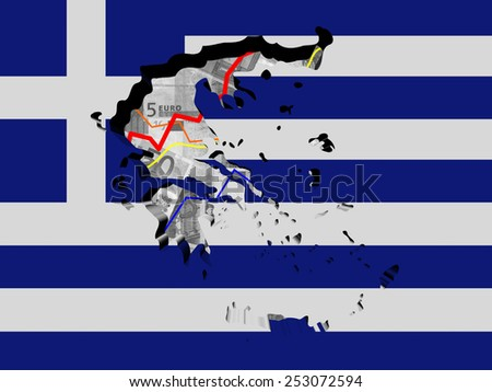 Greece map with flag and graphs on Euros illustration - stock photo