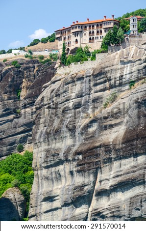 Greece, Meteors, Monastery of St. Varlaam on the top of the cliff - stock photo