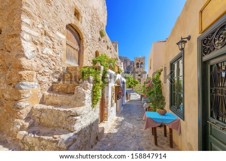 Greece monemvasia traditional view of stone houses and sights in main capitol in mani Peloponnese - stock photo