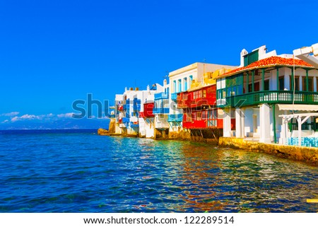 Greece Mykonos, Little Venice in Mykonos island Greece Cyclades - stock photo