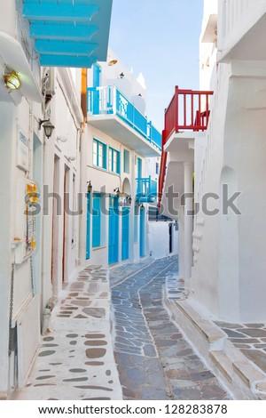 Greece Mykonos narrow walk path in main capitol - stock photo