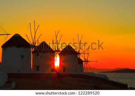 Greece Mykonos, Sunset at Windmills Mykonos Island Greece Cyclades - stock photo