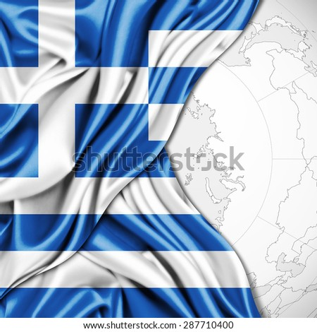 Greece  of silk and world map background