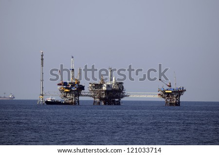 Greece, oil platform in Aegaean sea