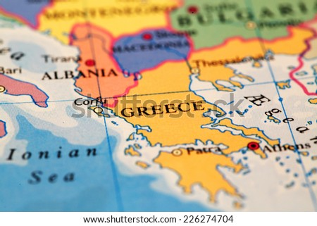 Greece  on atlas world map - stock photo