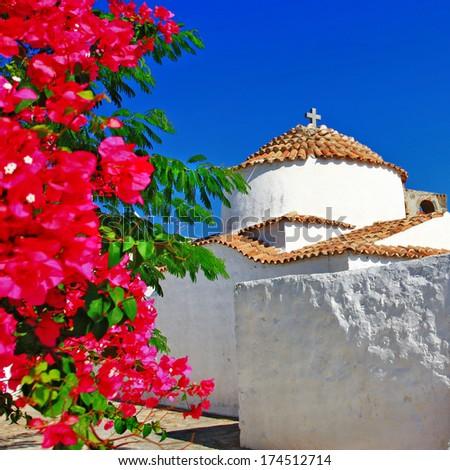 Greece.Patmos island. monastery - stock photo