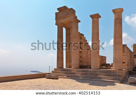 Greece. Rhodes. Doric columns of the ancient Temple of Athena Lindia the IV century BC in the Acropolis of Lindos