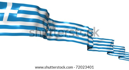 Greece ribbon flag isolated on white - stock photo
