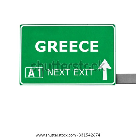 GREECE road sign isolated on white