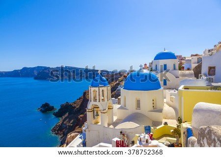 Greece Santorini church domes - stock photo