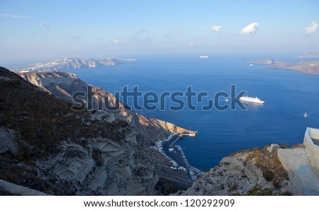 greece, santorini island.Caldera view is summer