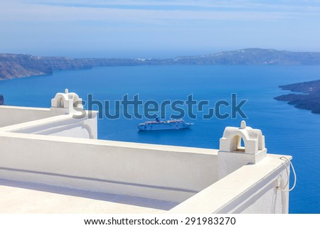 Greece Santorini island, caldera view with cruise ship on sea