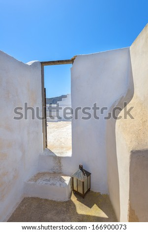 Greece Santorini island in cyclades colorful view of whitewashed houses amon small walk paths that cross the island