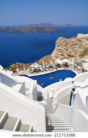 Greece Santorini island in Cyclades. Scenery at beautiful hotel resort near Fira.