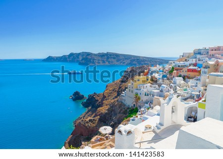 Greece Santorini island in Cyclades, traditional white washed view of houses in main capitol above the sea of caldera at summer