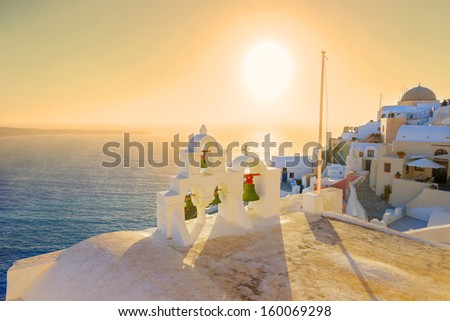 Greece Santorini island Oia sunset, view above caldera with sea background in Cyclades - stock photo